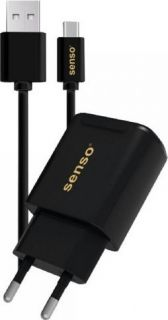 SENSO FAST TRAVEL CHARGER 2.1A 2 PORTS + TYPE C USB 2A 1M BLACK