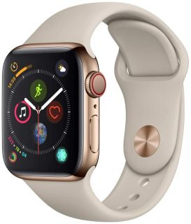 APPLE WATCH SERIES 4 GPS + CELLULAR 40MM GOLD STAINLESS STEEL CASE WITH STONE SPORT BAND - MTVN2TY/A