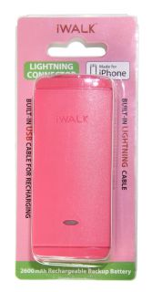 iWalk On The Go Pre-Charged Smartphone Powerbank 2,600 mAh with Built-in Lighting Cable (PINK) - (LB001L - 006A)