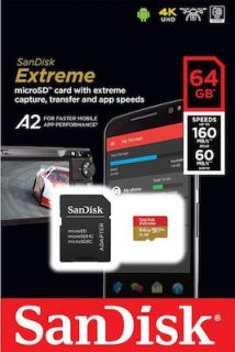 Sandisk Extreme microSDXC 64GB U3 V30 A2 with Adapter Mobile SDSQXA2-064G-GN6MA