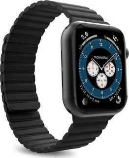 Puro Silicon Band 'ICON LINK' with magnetic silicone band for Apple Watch Black