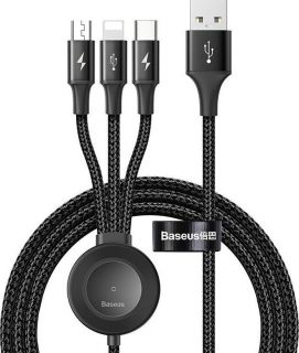 BASEUS cable USB 4w1 Star Ring Series + Wireless Charging for iWatch 1.2m Deep gray CA1T4-I0G