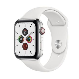 APPLE WATCH SERIE 5 GPS + 4G 44MM STAINLESS STEEL + SPORT WHITE BAND - MWWF2TY/A