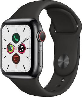APPLE WATCH SERIES 5 STEEL CELLULAR 40MM (BLACK BAND) MWX82